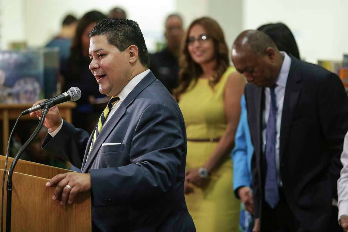 Houston ISD Superintendent Richard Carranza, left, holds a press conference with Houston mayor Sylvester Turner to discuss the school district's reopening of hundreds of facilities for the first day of school after Tropical Storm Harvey Monday, Sept. 11, 2017 in Houston.