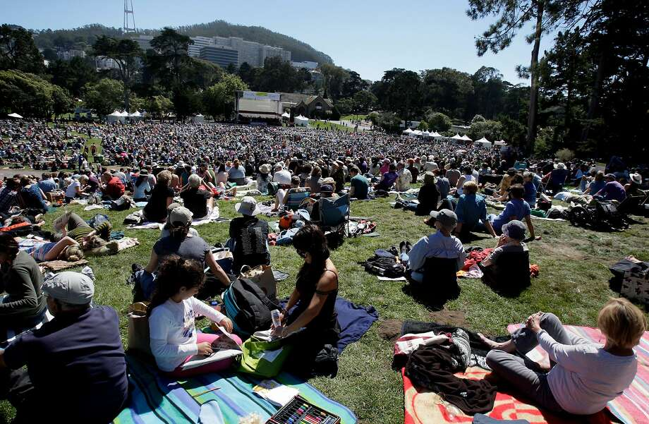 A group congregates at Golden Gate Park's Sharon Meadow, which was recently renamed for Bay Area native and comedy legend Robin Williams. Photo: Brant Ward, The Chronicle