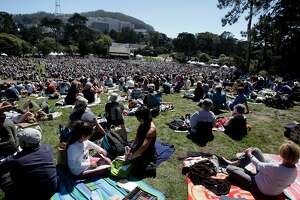 A view from the top of Hippy Hill looking south towards UCSF. San Francisco Opera Company celebrated the annual Opera in the Park event in Sharon Meadow at Golden Gate Park Sunday September 9, 2012.