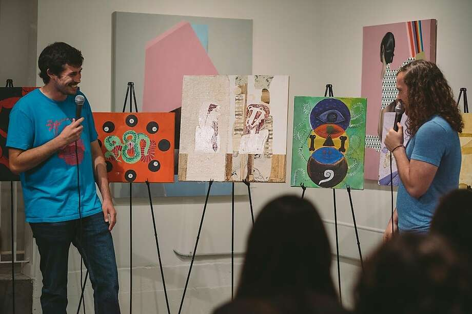 Jeremy Talamantes and Jordan Cerminara at the Art Critique Comedy Show Photo: Caleb Poterbin