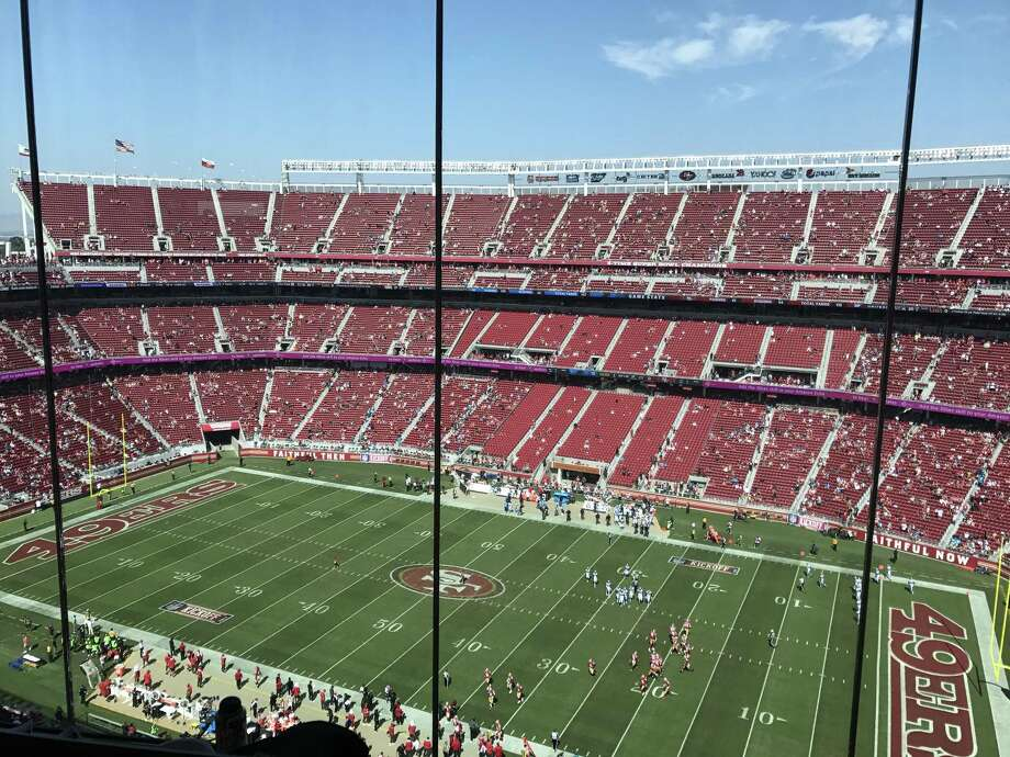 The eastern stands at Levi's Stadium are almost empty as the second half of Sunday's game begins.