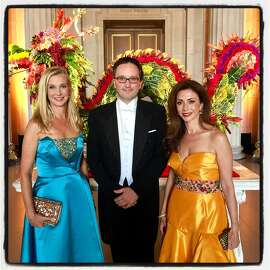 Opera Ball cochair Courtney Labe (left) with SF Opera General Director Matthew Shilvock and ball cochair Maryam  Mudoroglu. Sept. 8, 2017.