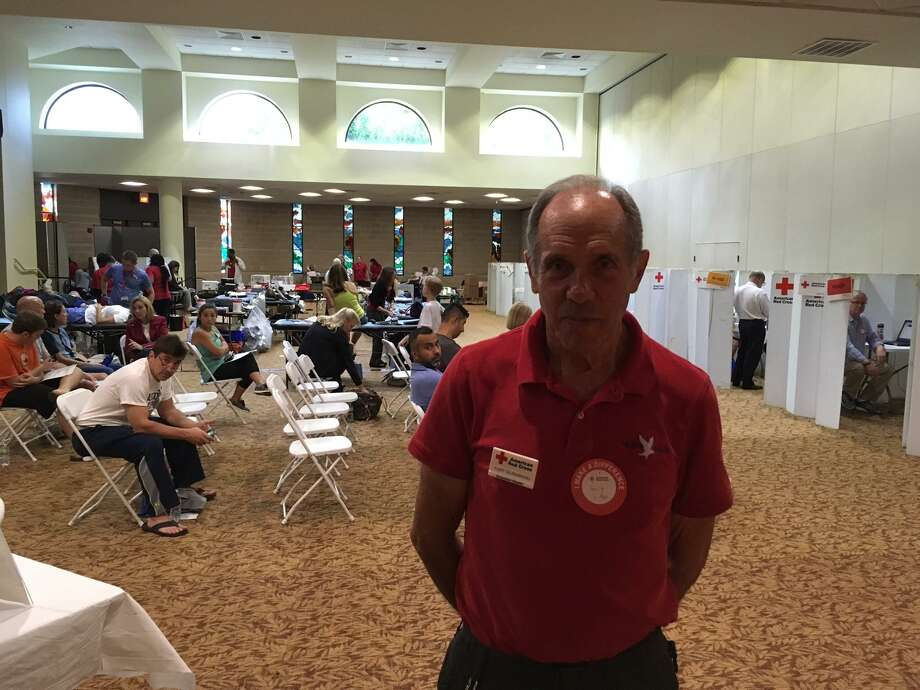 Blood-drive organizer Gary Silberberg said the number of donors showing up in central Greenwich to donate was impressive. Large groups waited their turn to donate. Photo: /