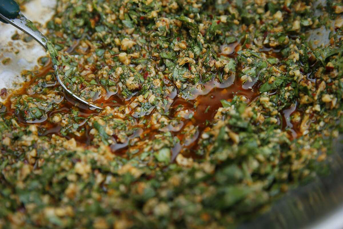 The Farmers's Wife chimichurri for Kendra Kolling's The Work sandwich at The Barlow on Tuesday, Aug. 22, 2017, in Sebastopol, Calif.
