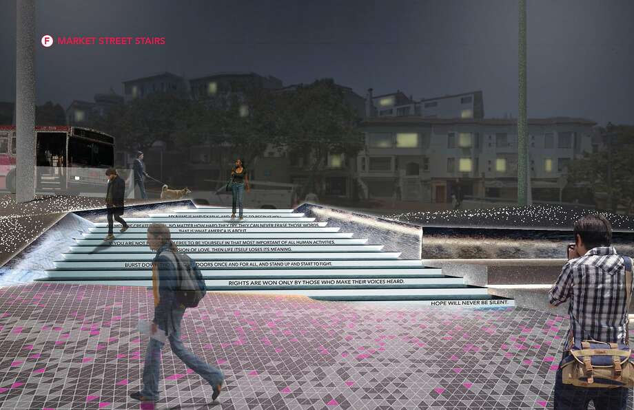The team led by Groundworks Office in San Francisco proposes raising the plaza to connect it with the surrounding streets, left, and adding steps, above, that would be lit up at night, featuring quotes from Harvey Milk. Photo: Groundworks Office