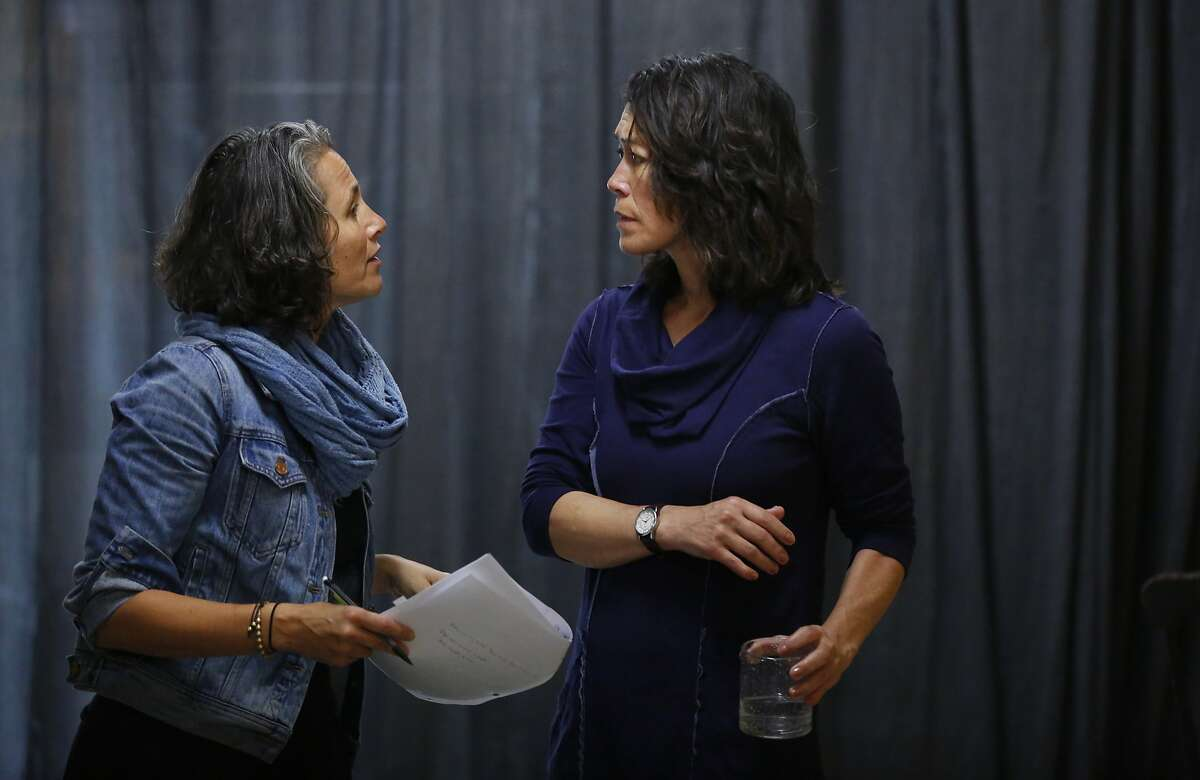 Actors Nora el Samahy, left, and Mia Tagano practice a scene together during play rehearsal for A Tale of Autumn at the Crowded Fire Theater August 19, 2017 in San Francisco, Calif.
