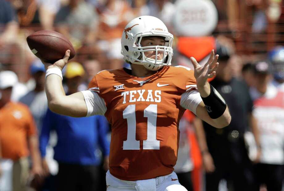 Texas quarterback Sam Ehlinger (11) throws against San Jose State during the first half of an NCAA college football game, Saturday, Sept. 9, 2017, in Austin, Texas. (AP Photo/Eric Gay) Photo: Eric Gay, STF / Copyright 2017 The Associated Press. All rights reserved.