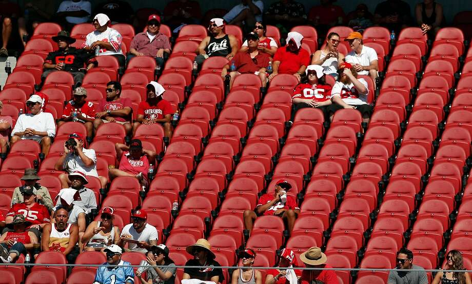 San Francisco 49ers' fans watch game from the east side of Levi's Stadium during 2nd half of 23-3 loss to Carolina Panthers during NFL game in Santa Clara, Calif., on Sunday, September 10, 2017. Photo: Scott Strazzante, The Chronicle
