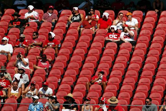 San Francisco 49ers' fans watch game from the east side of Levi's Stadium during 2nd half of 23-3 loss to Carolina Panthers during NFL game in Santa Clara, Calif., on Sunday, September 10, 2017.