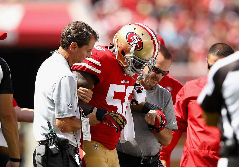 SANTA CLARA, CA - SEPTEMBER 10:  Reuben Foster #56 of the San Francisco 49ers is helped off the field after he was injured in their game against the Carolina Panthers at Levi's Stadium on September 10, 2017 in Santa Clara, California.  (Photo by Ezra Shaw/Getty Images) Photo: Ezra Shaw, Getty Images