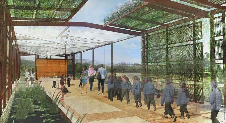 "A rendering of a futre ""living building,"" with walls that support vines and plants that attract pollinators and a ceiling that harvests rainwater and channels it to pools in the floor mimicking wetlands. Photo: New Braunfels Utilities"