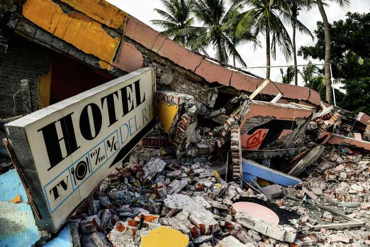 Shown is a view Sunday of a collapsed hotel in Juchitan de Zaragoza, state of Oaxaca, following the 8.2 magnitude earthquake that hit Mexico's Pacific Coast on Friday.