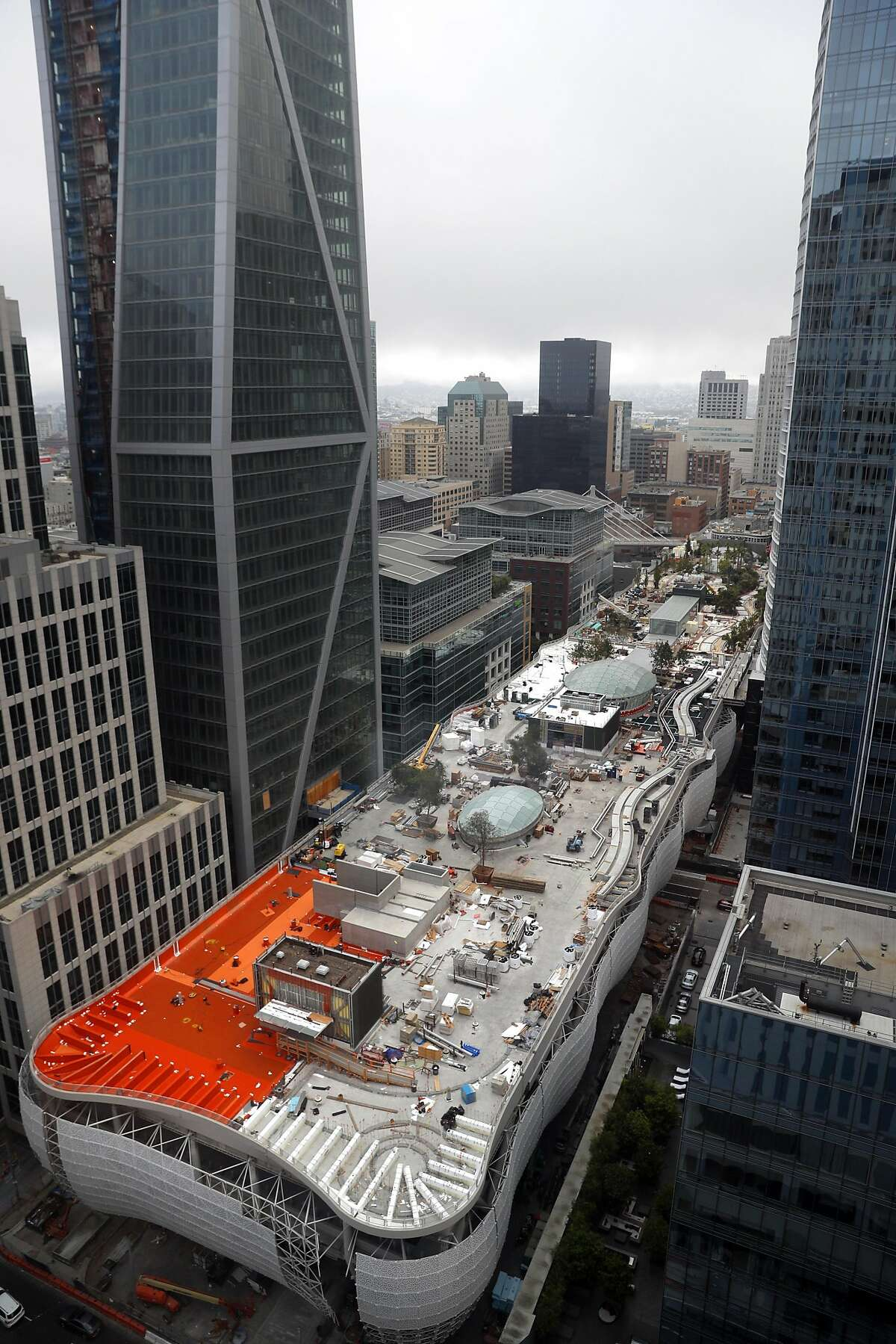 The view from above at the site of the new Transbay Terminal which is still under construction in San Francisco, on Wednesday, August 23, 2017.at the site of the new Transbay Terminal which is still under construction in San Francisco, on Wednesday, August 23, 2017.
