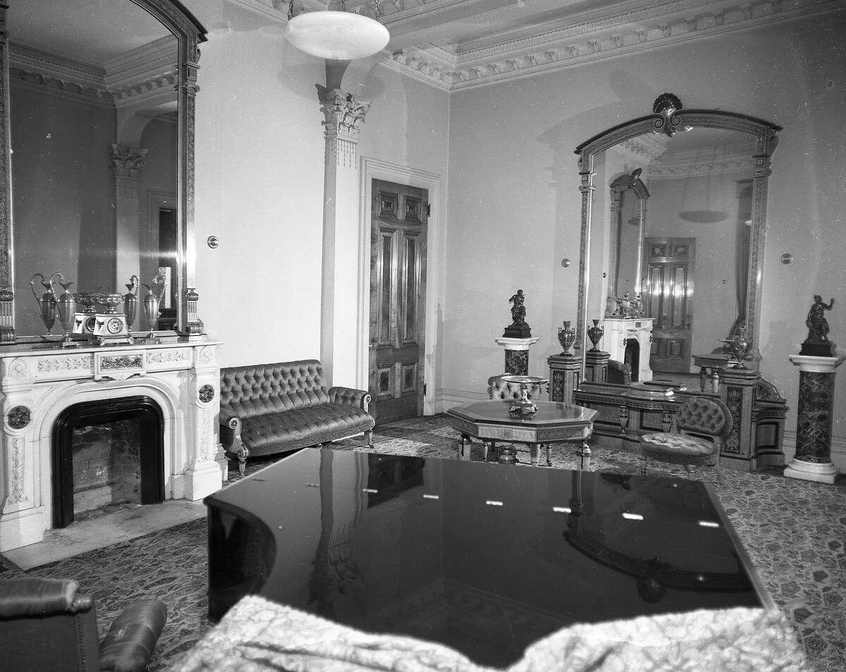 Interior photos of the Mills Estate, the home of Darius Mills, October 1951