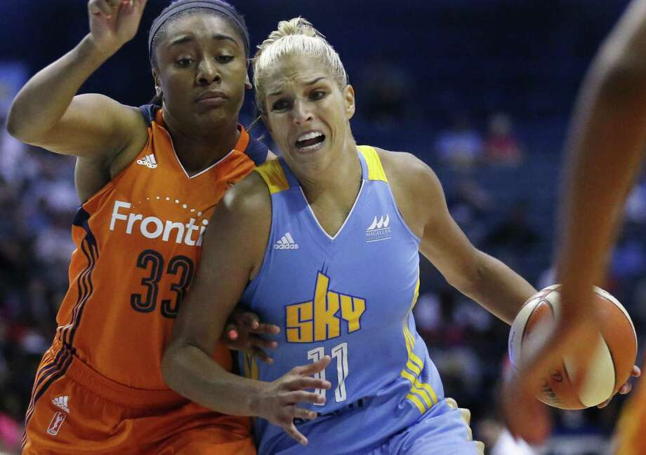 In this July 22, 2016, file photo, Chicago Sky forward Elena Delle Donne, right, drives as Connecticut Sun forward Morgan Tuck defends during a WNBA basketball game in Rosemont, Ill. Tuck will step onto the Team USA practice court later this month. Photo: Nam Y. Huh / Associated Press / Copyright 2016 The Associated Press. All rights reserved. This material may not be published, broadcast, rewritten or redistribu