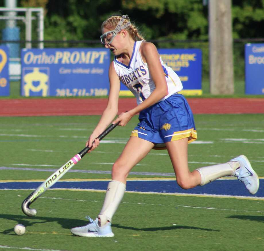 Brookfield's Erin Riddle races toward the goal with the ball during the field hockey game against Shepaug at Brookfield High School Sept. 11, 2017. Photo: Richard Gregory / Richard Gregory