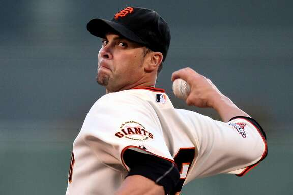 San Francisco Giants starting pitcher Ryan Vogelsong throws to the Atlanta Braves in the first inning of their MLB baseball game Thursday, May 9, 2013 in San Francisco, Calif.