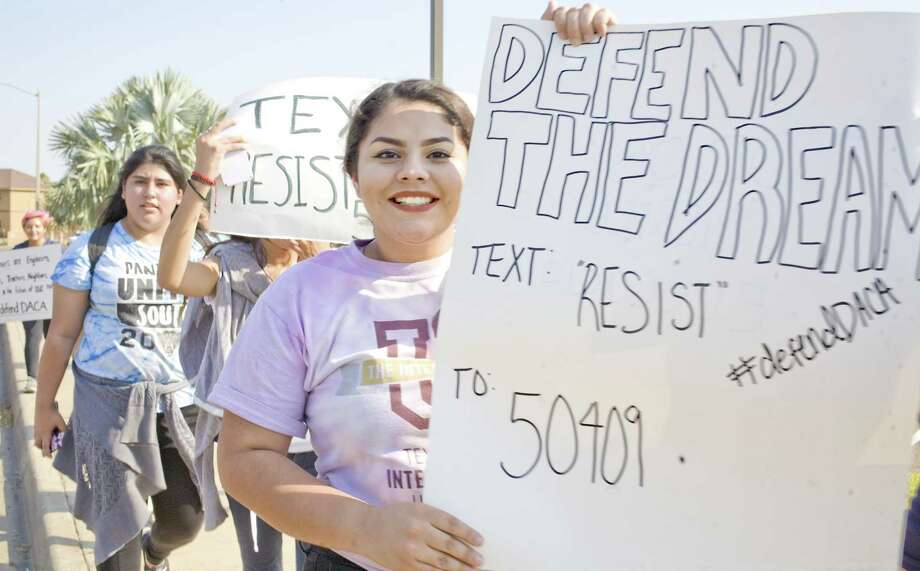 United South High students in Laredo march last week to protest President Trump's end to the Deferred Action for Childhood Arrivals (DACA) program. Republicans are trying to have it both ways in defending Trump's decision. Photo: Francisco Vera /Laredo Morning Times / Laredo Morning Times