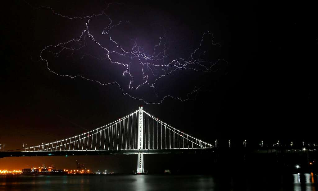 Lighting strike above the eastern span of the Bay Bridge on June, 14, 2017 in San Francisco, Ca. Photo: Michael Macor, The Chronicle