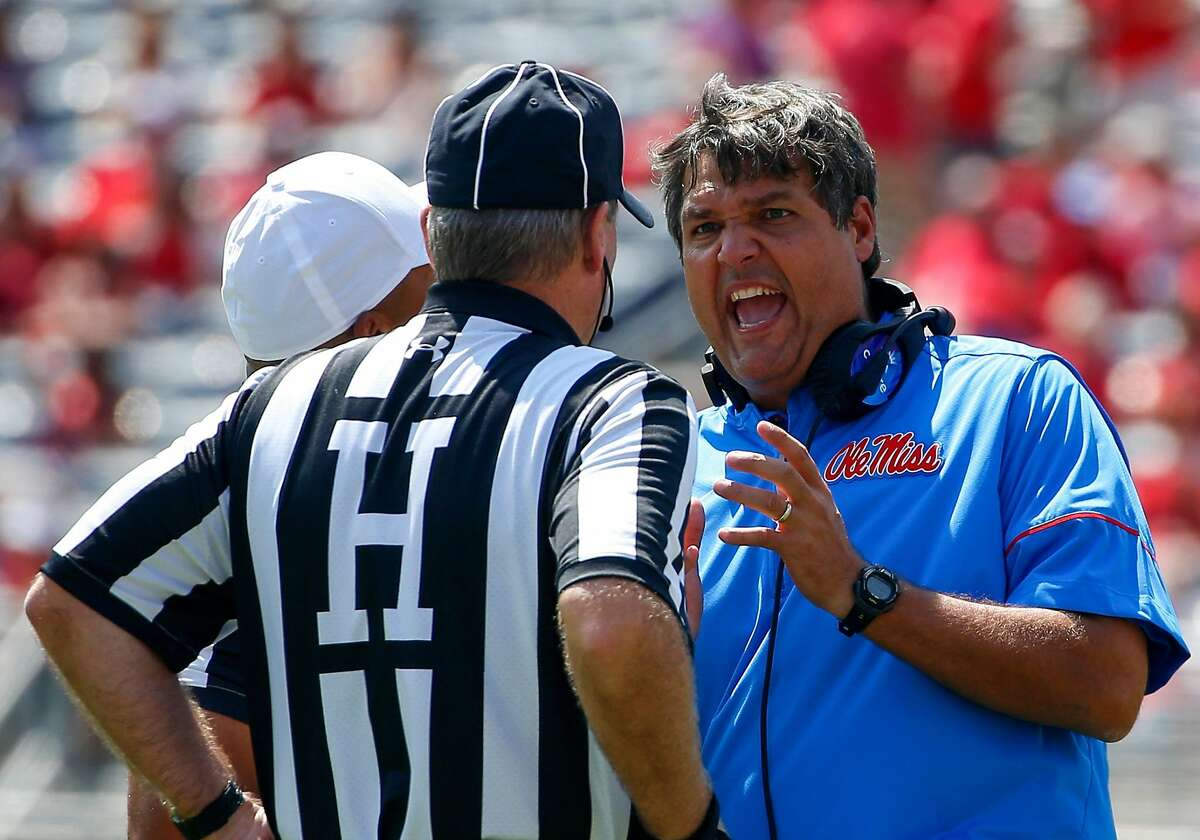 OXFORD, MS - SEPTEMBER 9: Head Coach Matt Luke of the Mississippi Rebels discusses a call with the referee during the second quarter of an NCAA football game against the Tennessee Martin Skyhawks at Vaught-Hemingway Stadium on September 9, 2017 in OXFORD, Mississippi. (Photo by Butch Dill/Getty Images)