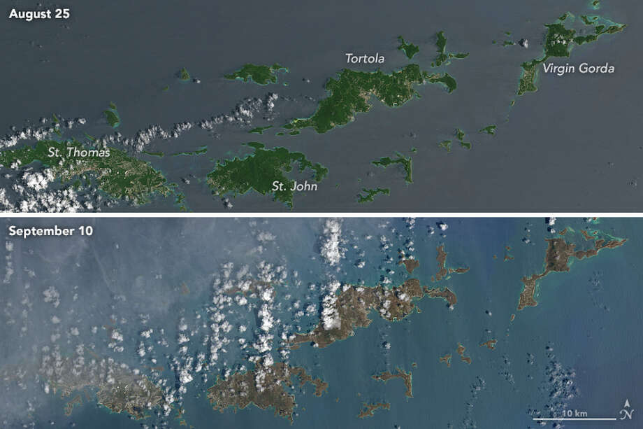 The color photos captured from space byOperational Land Imager (OLI) reveal just how devastating Hurricane Irma was to numerous Caribbean islands. Photo: Operational Land Imager (OLI)