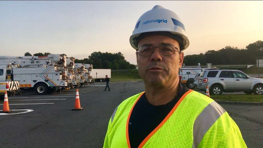 Mike Peters of National Grid talks about plans for crew of 40 from the Capital Region traveling down to Tampa, Fla. for storm aid. Photo: By Larry Rulison