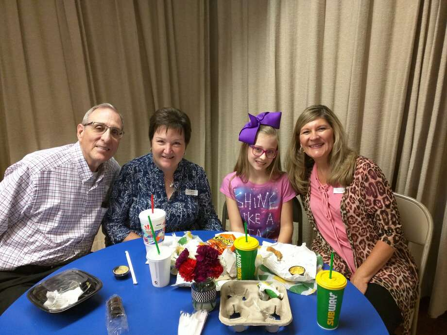 """In honor of Grandparents Day, grandparents of Highland Elementary students were invited to the campus Monday to have lunch with the young ones who make their life """"grand."""" Almost 150 grandparents were in attendance. Student Marleigh Styne (third from left) was joined by her grandparents Tim and Janice Powers (left) and Lynette Styne. Marleigh is the daughter of Janelle Styne, Highland instructional coach."""