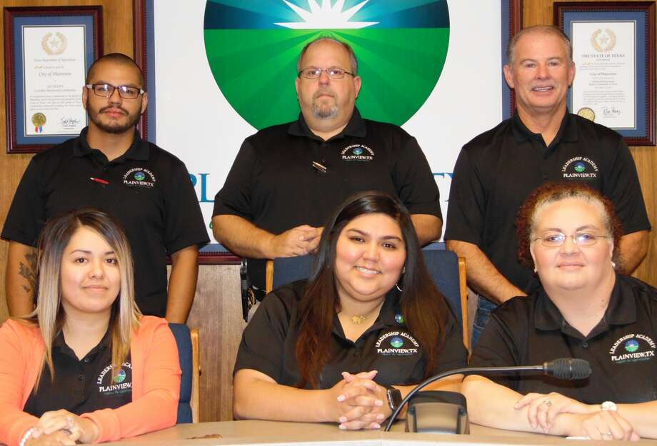 Six employees have successfully completed the five-month City of Plainview Leadership Academy. They include Solid Waste Secretary Dianne Botello (front left), Utility Billing Clerk Viktorya Castillo, Deputy Municipal Court Clerk Doreen Renfro, Water Utilities Technician Ezra Martinez (back left, Police Training Sgt. Jeff Stalcup and Fire Capt. David Sells.