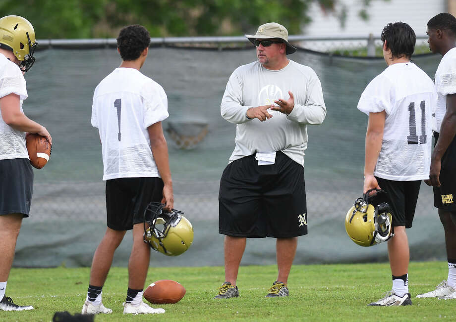 Nederland's new head coach Monte Barrow watches players during Monday's practice at the Bulldog's practice field. Photo taken Monday, August 07, 2017 Guiseppe Barranco/The Enterprise Photo: Guiseppe Barranco, Photo Editor / Guiseppe Barranco ©