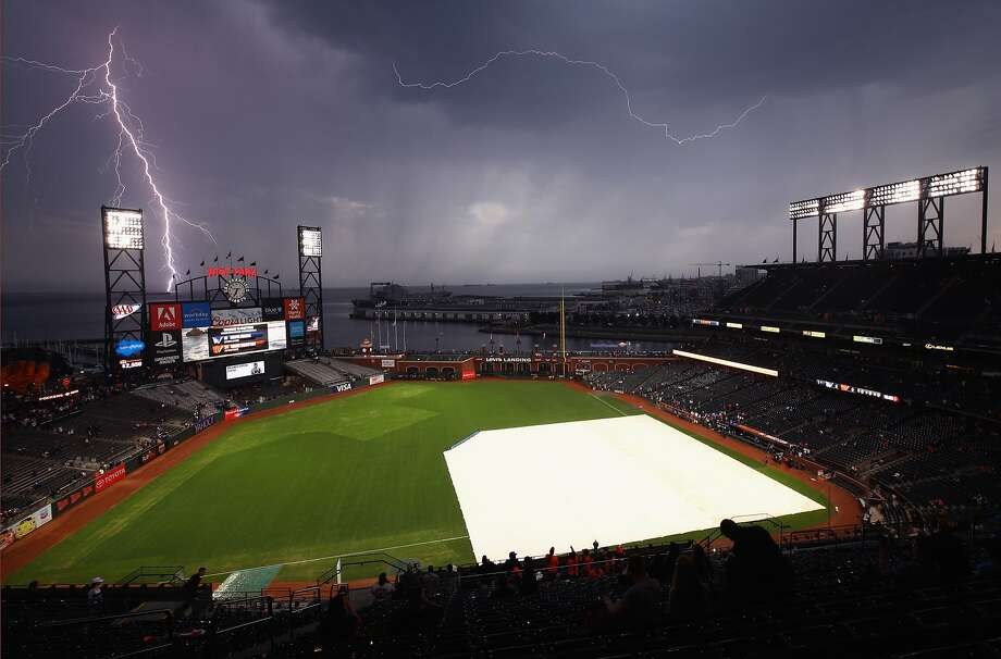 Lightning strikes near AT&T Park before the San Francisco Giants game against the Los Angeles Dodgers on September 11, 2017 in San Francisco, California. Photo: Ezra Shaw, Getty Images