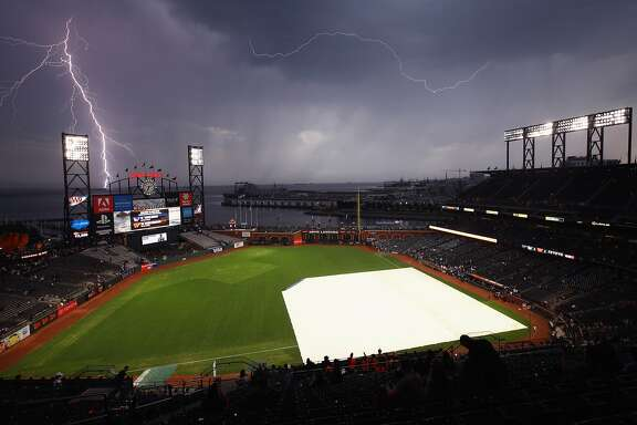 SAN FRANCISCO, CA - SEPTEMBER 11:  Lightning strikes near AT&T Park before the San Francisco Giants game against the Los Angeles Dodgers on September 11, 2017 in San Francisco, California.  (Photo by Ezra Shaw/Getty Images)