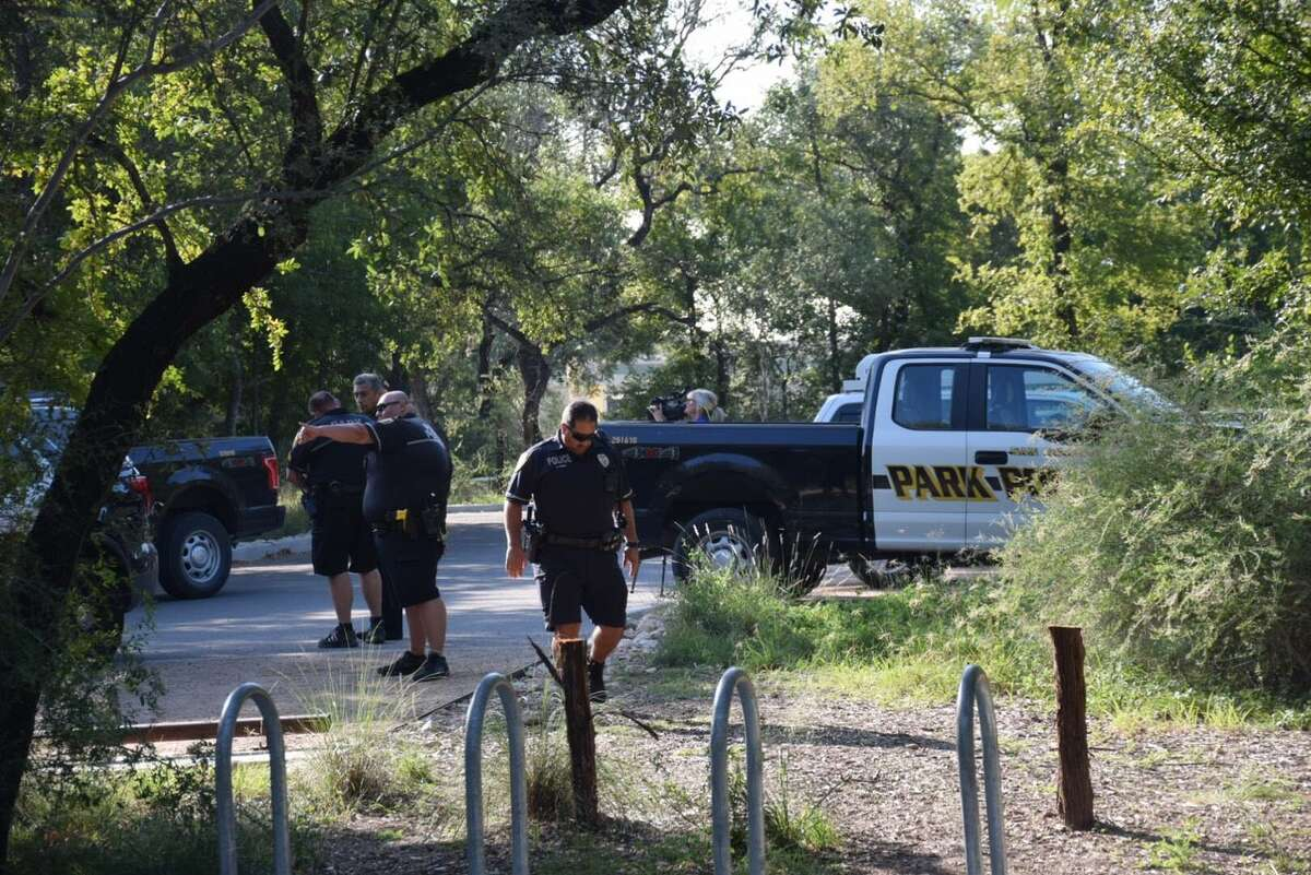 San Antonio police investigate a report of a sexual assault on a trail in Hardberger Park in the 13000 block of Blanco Road on Tuesday, Sept. 12, 2017.