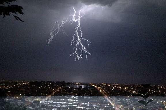 Megan Kumar photographed a lightning bolt over San Francisco.