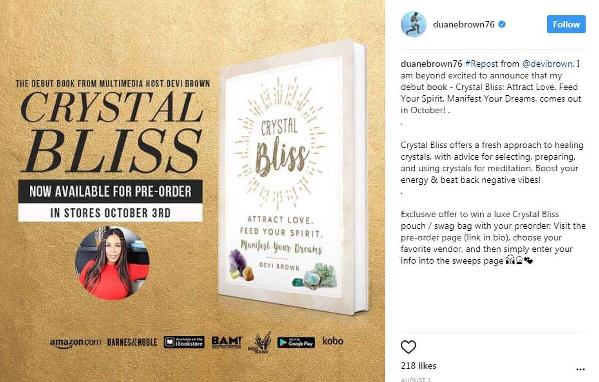 DURING DUANE BROWN'S CONTRACT HOLDOUT, HE HAS ... Promoted his wife Devi Brown's new book Crystal Bliss: Attract Love, which will be in stores Oct. 3.