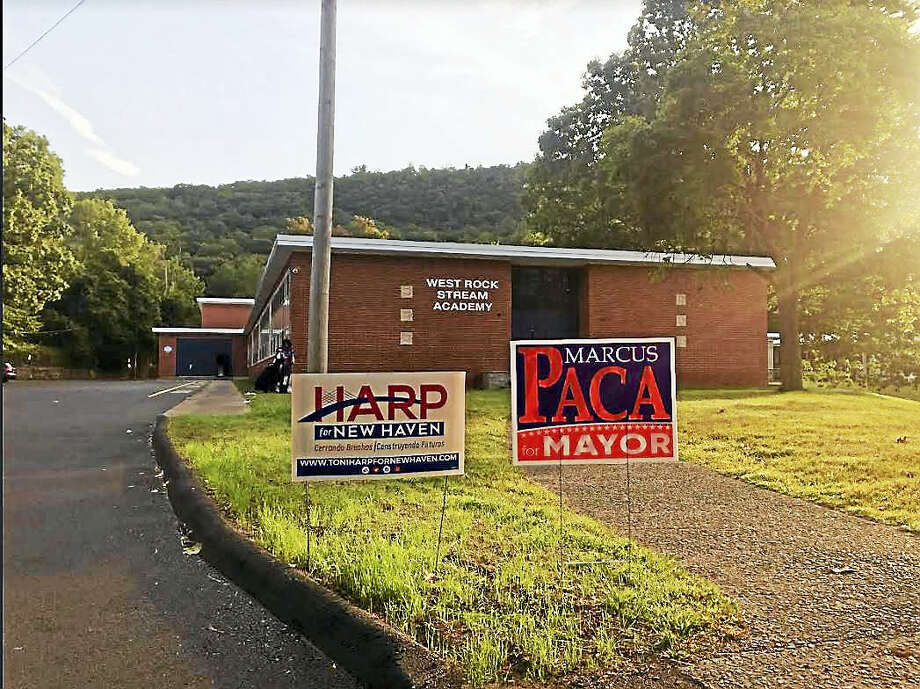 William Kaempffer / Hearst Connecticut Media Voting was slow at the West Hills Stream School in Ward 30 this morning.
