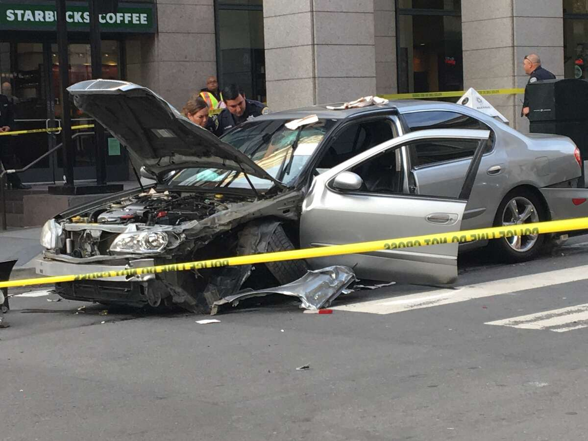 A man was shot and critically wounded on Sept. 12, 2017 while in a car with a woman in the Union Square area of San Francisco, an incident that caused a three-vehicle crash, police and witnesses said.