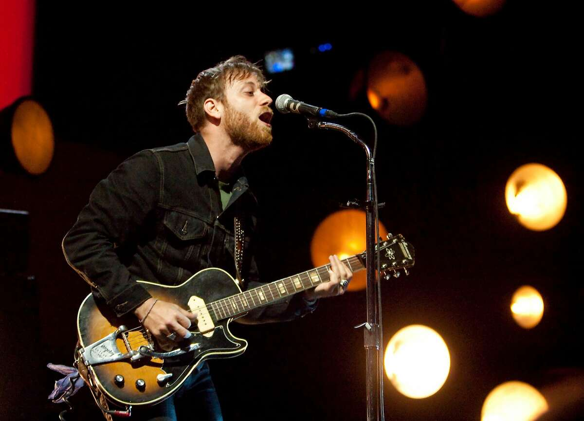 Dan Auerbach of The Black Keys performs at the Cynthia Woods Mitchell Pavilion on Tuesday, April 24, 2012 in The Woodlands, Texas. (AP Photo/The Courier, Karl Anderson)