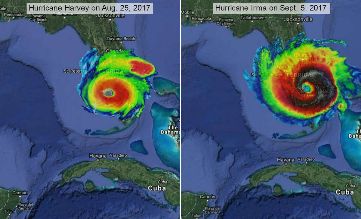 Florida peninsula Using thermal images of Harvey taken on Aug. 25, 2017 (left) and Irma taken on Sept. 5, 2017 (right), by NASA-NOAA's Suomi NPP satellite to show the systems' storm swirl at their strongest and online mapping tool MAPfrappe, we imagined what Category 4 Harvey and Category 5 Irma would look like in other areas of the United States.