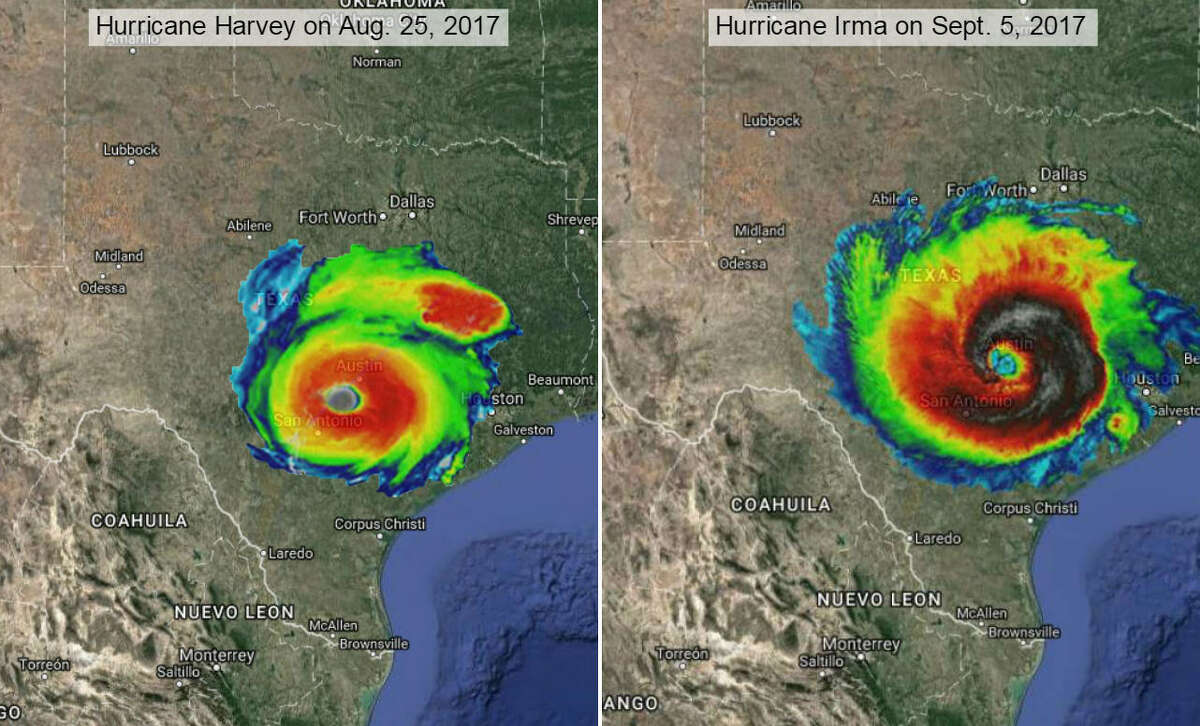 Texas, over Austin and San Antonio Using thermal images of Harvey taken on Aug. 25, 2017 (left) and Irma taken on Sept. 5, 2017 (right), by NASA-NOAA's Suomi NPP satellite to show the systems' storm swirl at their strongest and online mapping tool MAPfrappe, we imagined what Category 4 Harvey and Category 5 Irma would look like in other areas of the United States.