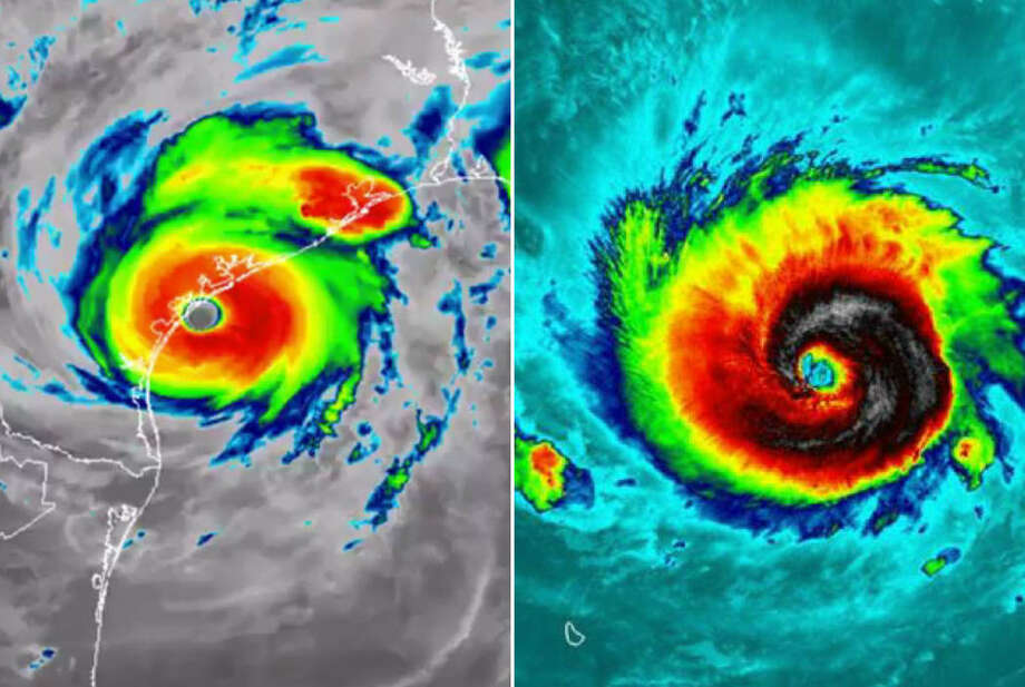 Using thermal images of Harvey taken on Aug. 25, 2017 (left) and Irma taken on Sept. 5, 2017 (right), by NASA-NOAA's Suomi NPP satellite to show the systems' storm swirl at their strongest and online mapping tool MAPfrappe, we imagined what Category 4 Harvey and Category 5 Irma would look like in other areas of the United States. Photo: Imaging From NASA/NOAA/NWS/MAPfrappe