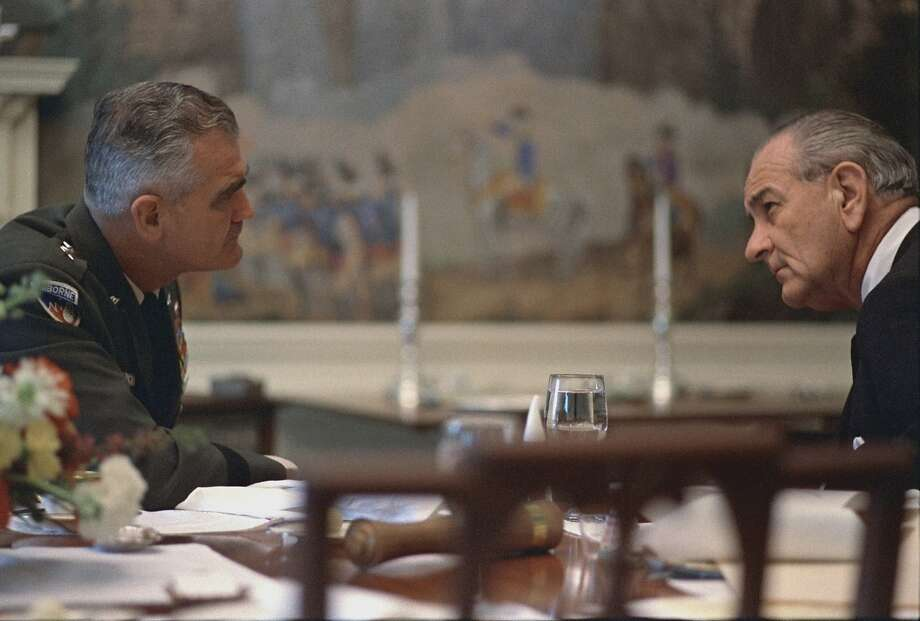 Gen. William Westmoreland, commander of U.S. forces advises President Johnson April 4, 1968. Photo: Courtesy Lyndon B. Johnson Presidential Library