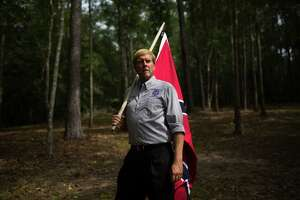 Stuart Waldo, a member of the Sons of Confederate Veterans, poses for a portrait following an unveiling of a monument to unknown Confederate dead at Confederate Veterans Memorial Park, which is owned privately, in Brantley, Alabama, on August 27, 2017. The ceremony was sponsored by the Sons of the Confederate Veterans.