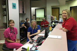 Christ Clinic of Katy is offering free medical services after Harvey. In front, from left, are: Amy Huston and Holly Goshu, both nurse practitioners, and Taylor Oakes, a registered nurse and volunteer from Tennessee. In back are: Jean Andersson-Swayze and Dr. Gary Nichols, both of Heart to Heart International.
