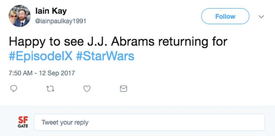 Fans of the space opera film series Star Wars had mixed reactions to the news that J.J. Abrams will be direction Episode IX. Photo: Twitter Screen Shot