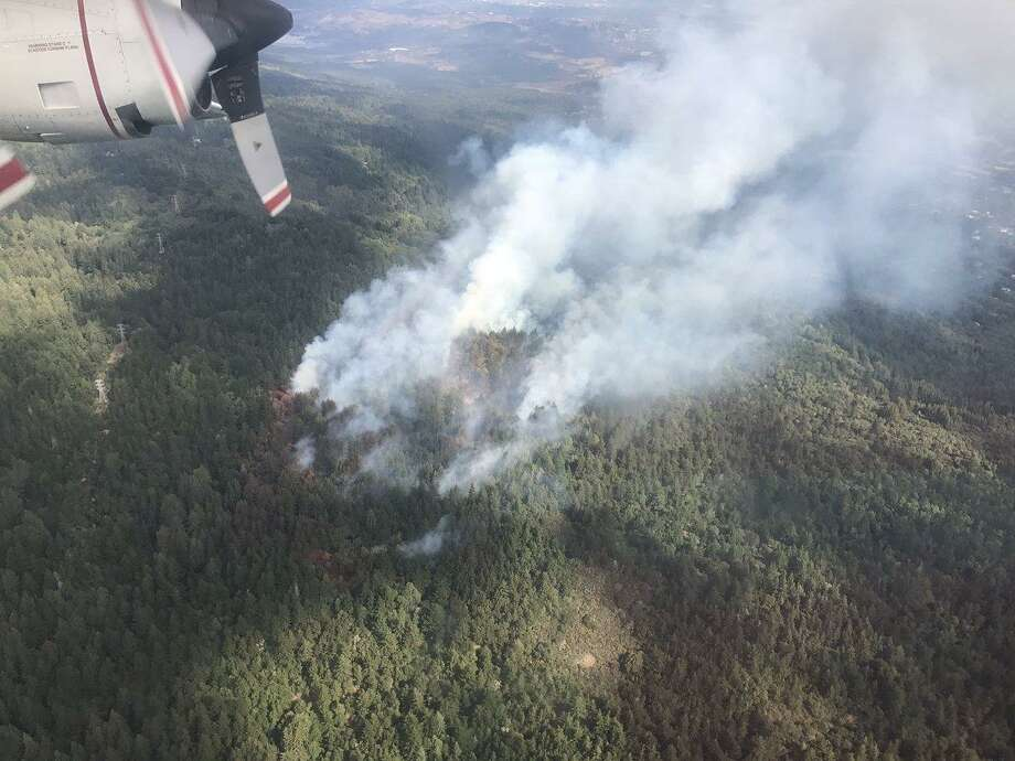 The Skeggs Fire near Woodside is seen from an aircraft on Tuesday morning, Sept. 12, 2017.