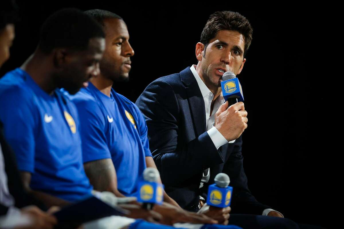 Bob Myers, Warriors President of Basketball Operations and General Manager speaks during a press conference to annouce a jersey sponsorship deal between Rakuten and the Golden State Warriors in Oakland, Calif., on Tuesday, Sept. 12, 2017.