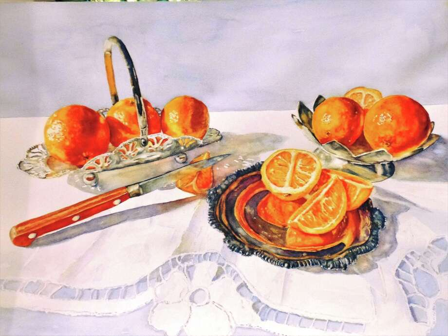 "A watercolor painting by Terri Baehr Harris, whose work will be featured in a show titled ""Orange Obsession"" at the Central Market Fine Art Gallery in downtown Conroe throughout the month of October."