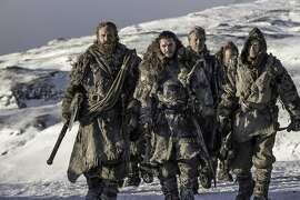 "Kristofer Hivju as Tormund Giantsbane, Kit Harington as Jon Snow, Iain Glen as Jorah Mormont and Joe Dempsie as Gendry on ""Game of Thrones."" MUST CREDIT: Helen Sloan, HBO"