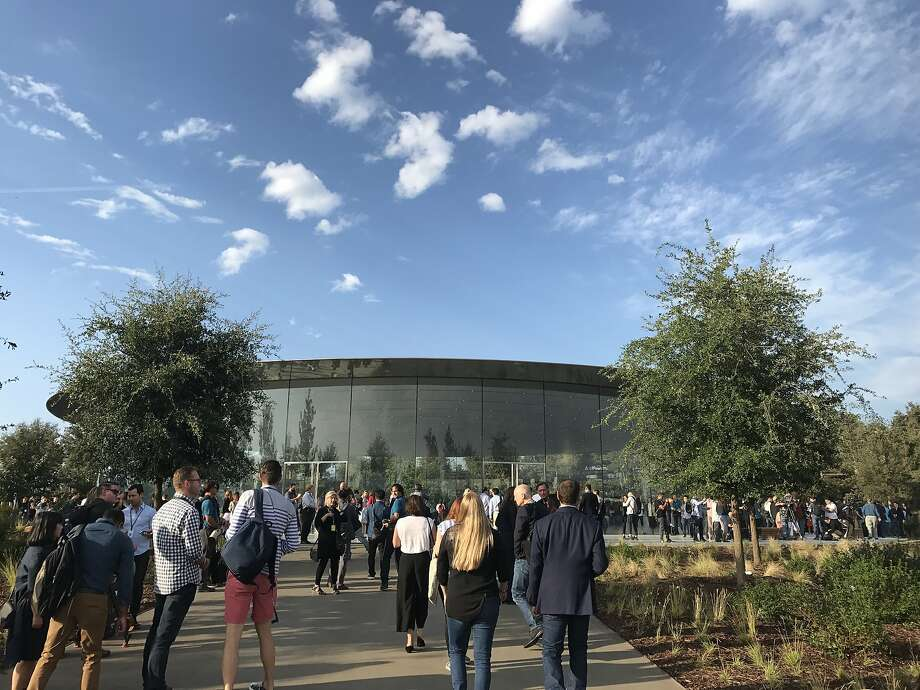 Invited guests, analysts and press gather at new Steve Jobs Theater on the Apple Park campus in Cupertino Tuesday for Apple's annual unveiling of its latest iPhone modles Photo: Wendy Lee
