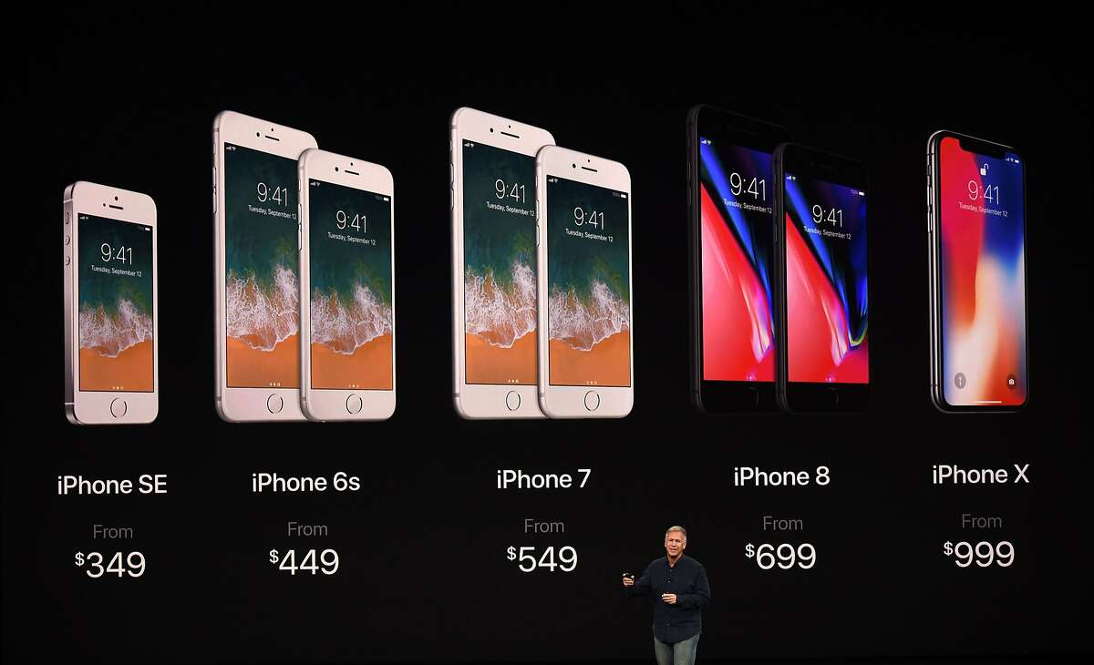 Senior Vice President of Worldwide Marketing at Apple Philip Schiller introduces the new iPhone lineup during a media event at Apple's new headquarters in Cupertino, California, on September 12, 2017.